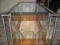 polished metal handrails