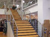 polished steel handrails